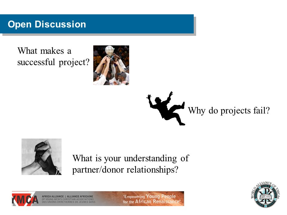 Open Discussion What makes a successful project. Why do projects fail.