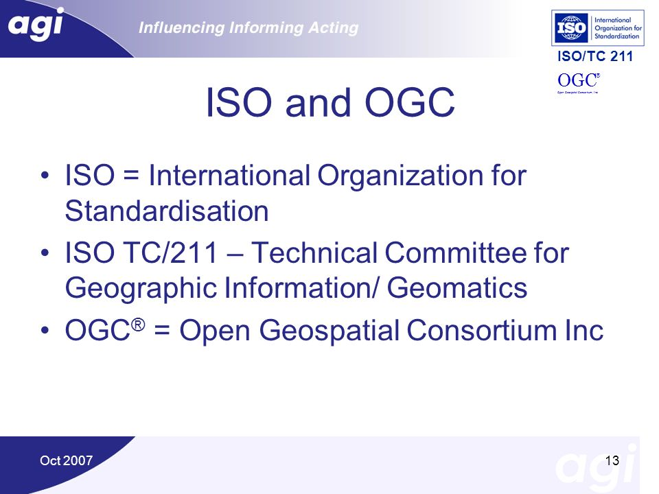 ISO and OGC ISO = International Organization for Standardisation