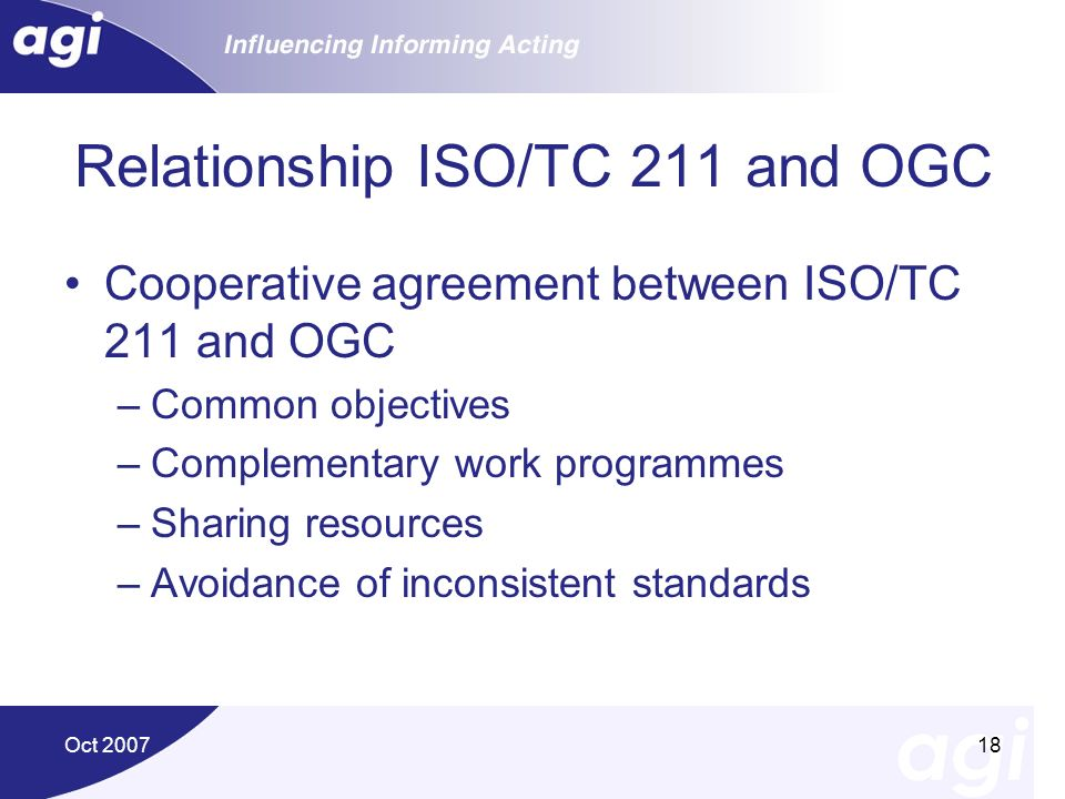 Relationship ISO/TC 211 and OGC