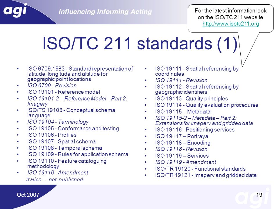 For the latest information look on the ISO/TC 211 website http://www