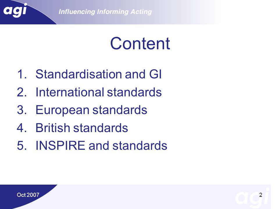 Content Standardisation and GI International standards