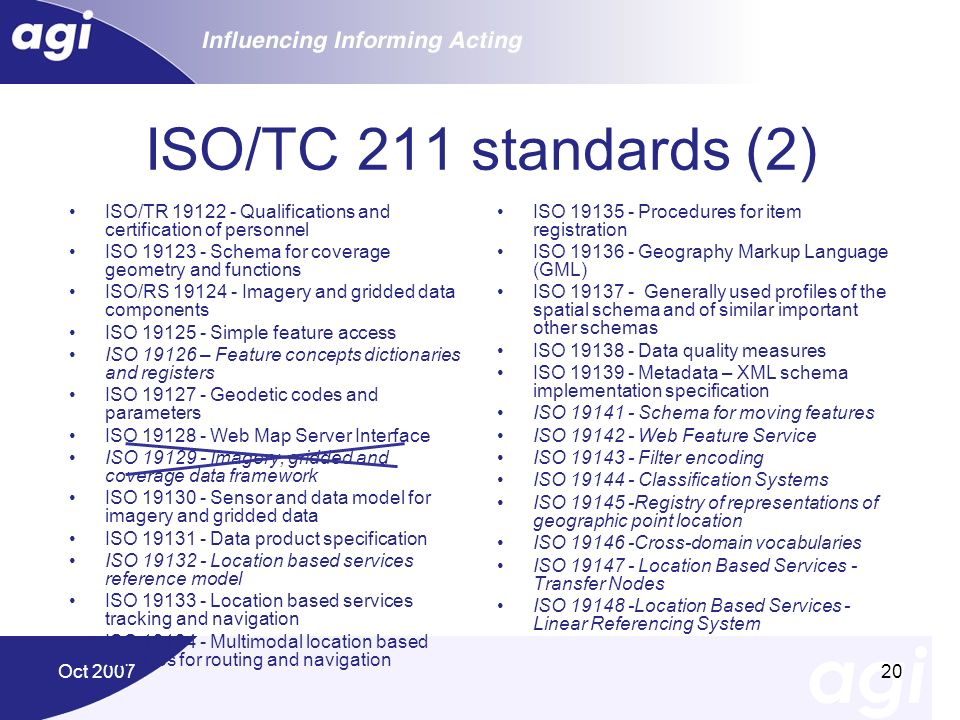 ISO/TC 211 standards (2) ISO/TR 19122 - Qualifications and certification of personnel. ISO 19123 - Schema for coverage geometry and functions.