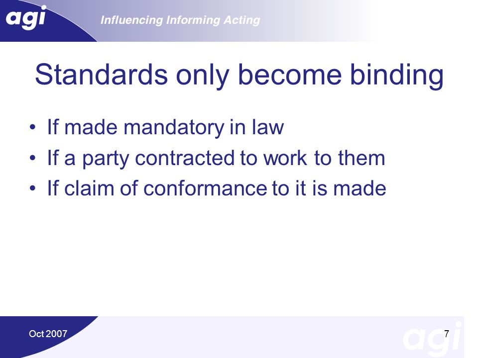 Standards only become binding