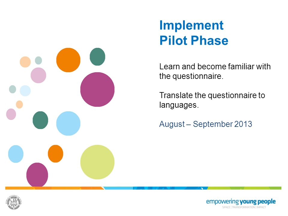 Implement Pilot Phase. Learn and become familiar with the questionnaire. Translate the questionnaire to languages.