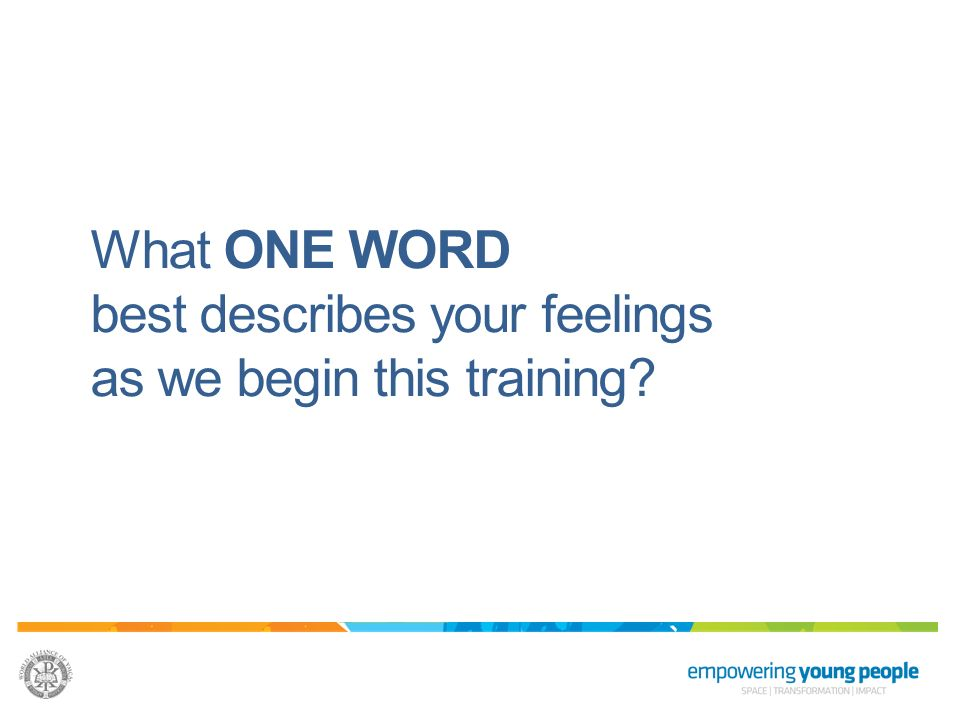 What ONE WORD best describes your feelings as we begin this training
