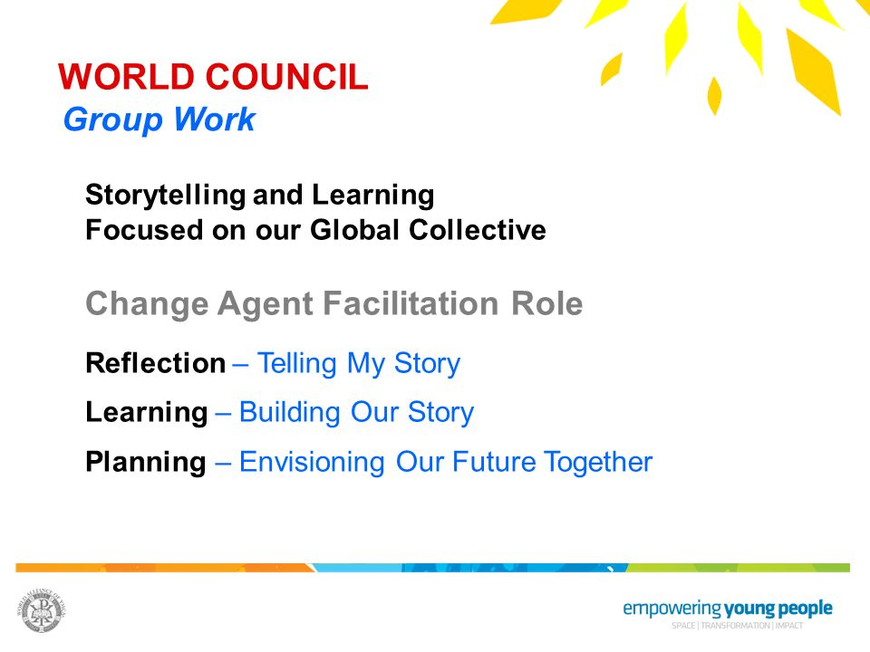 WORLD COUNCIL Group Work Change Agent Facilitation Role