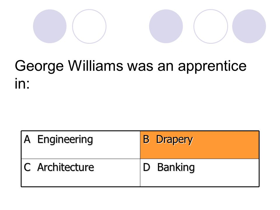George Williams was an apprentice in: