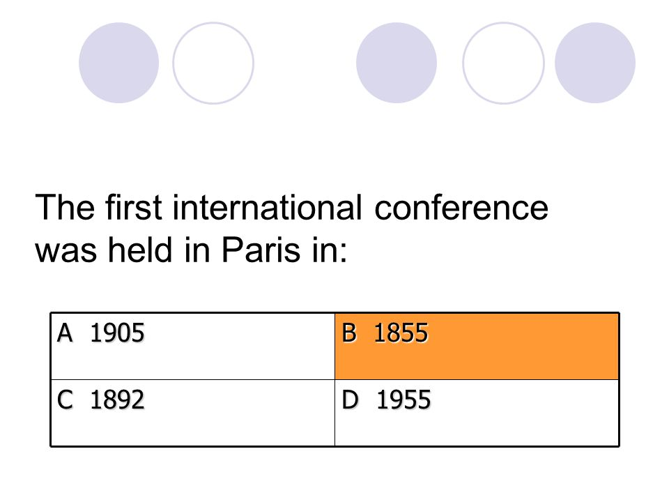 The first international conference was held in Paris in: