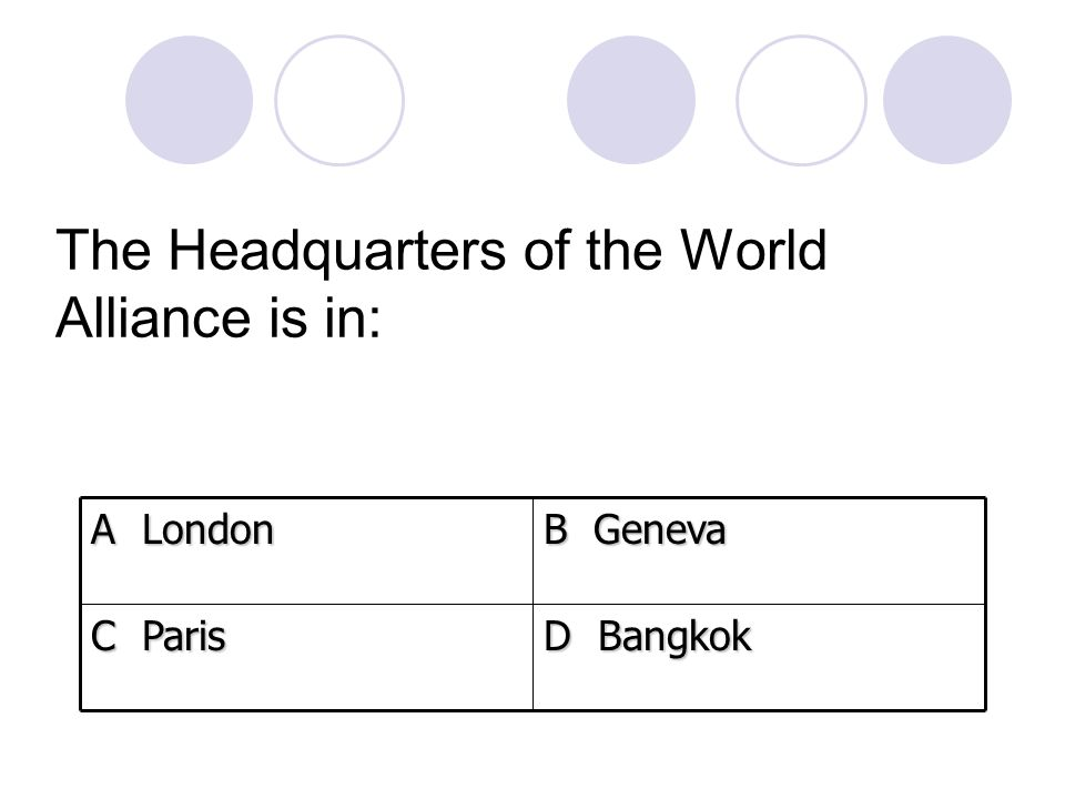 The Headquarters of the World Alliance is in:
