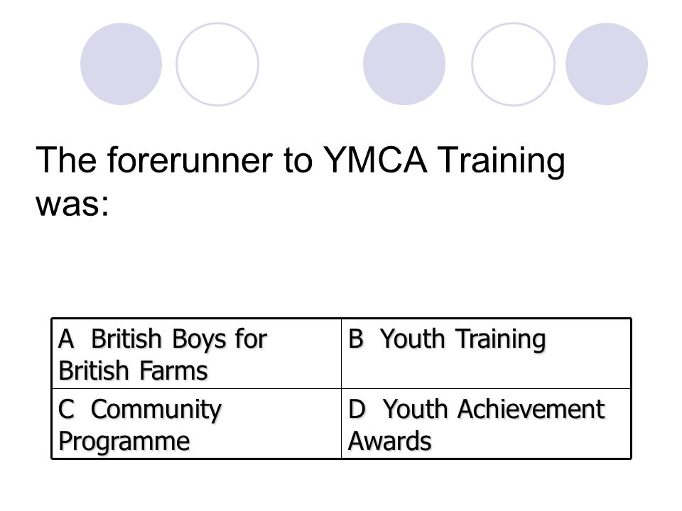 The forerunner to YMCA Training was: