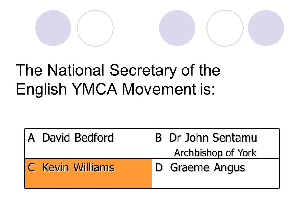 The National Secretary of the English YMCA Movement is: