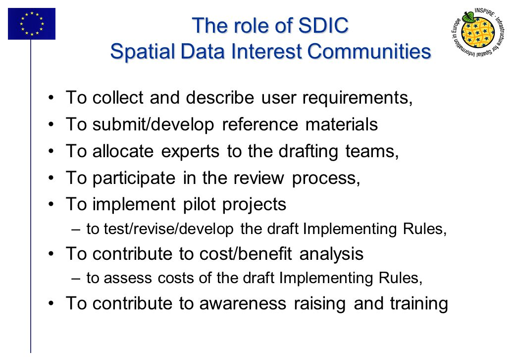 The role of SDIC Spatial Data Interest Communities
