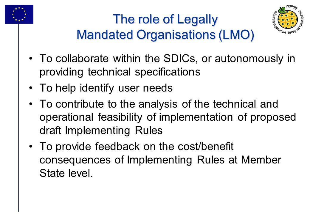 The role of Legally Mandated Organisations (LMO)