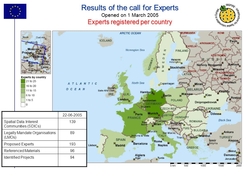 Results of the call for Experts Opened on 1 March 2005 Experts registered per country