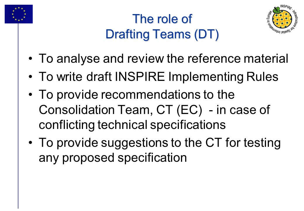 The role of Drafting Teams (DT)