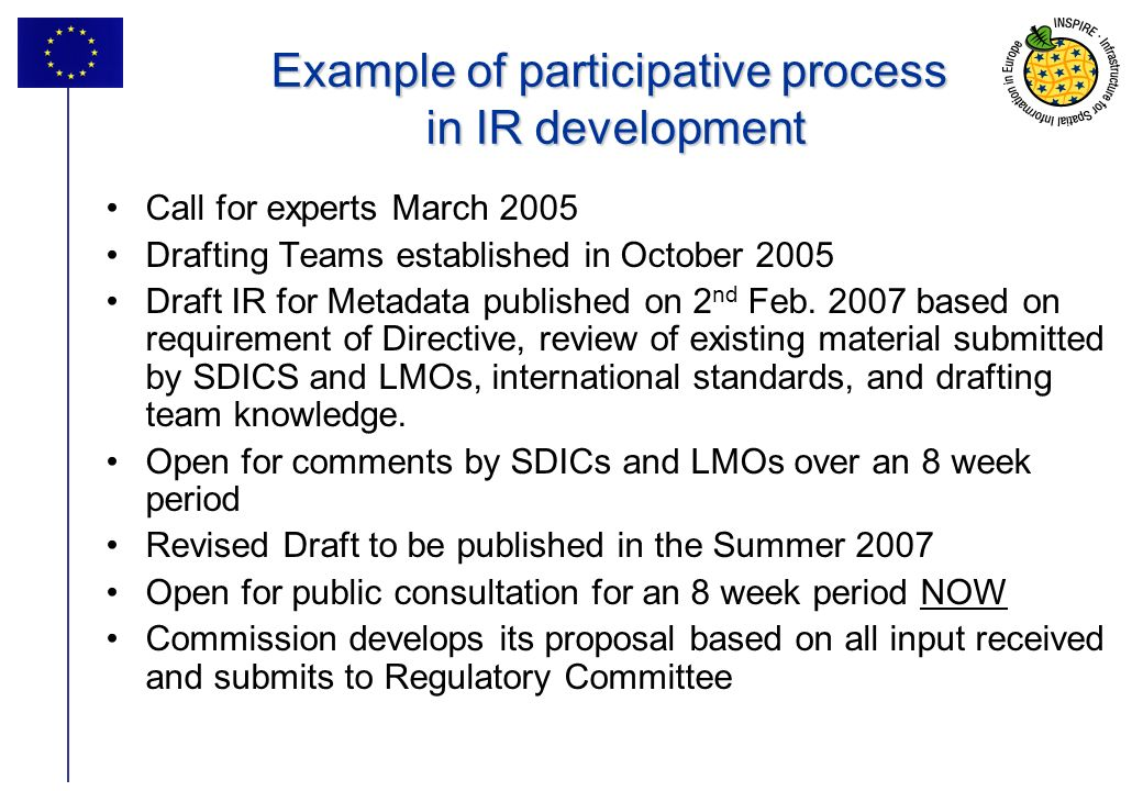 Example of participative process in IR development