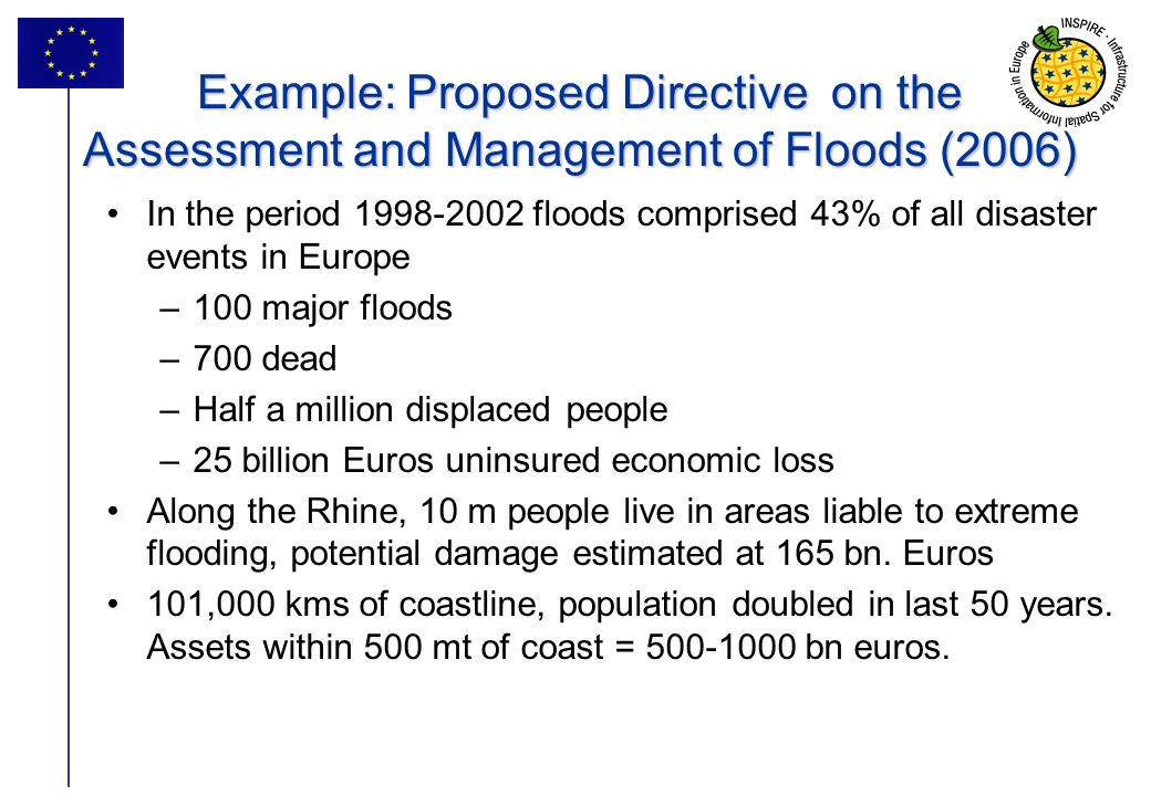 Example: Proposed Directive on the Assessment and Management of Floods (2006)