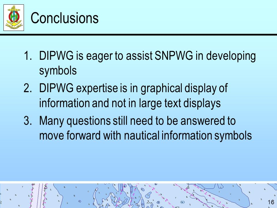 Conclusions DIPWG is eager to assist SNPWG in developing symbols