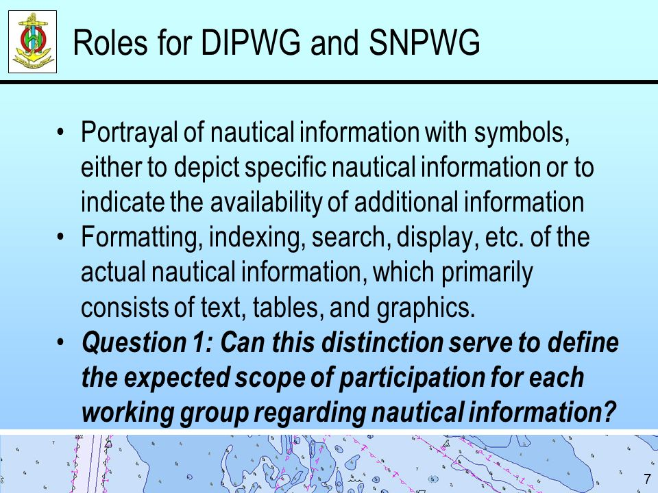 Roles for DIPWG and SNPWG