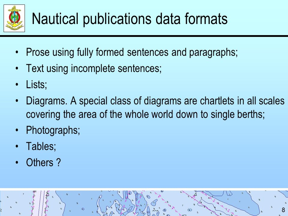 Nautical publications data formats