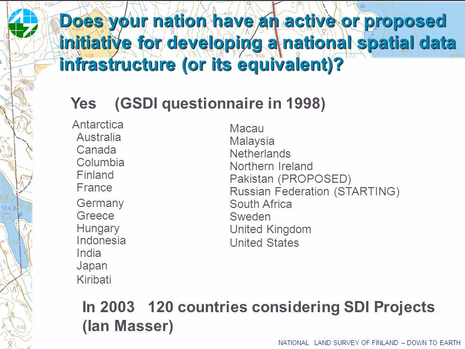Does your nation have an active or proposed initiative for developing a national spatial data infrastructure (or its equivalent)