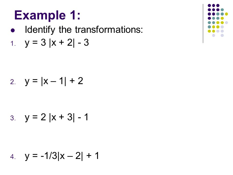 Example 1: Identify the transformations: y = 3 |x + 2| - 3