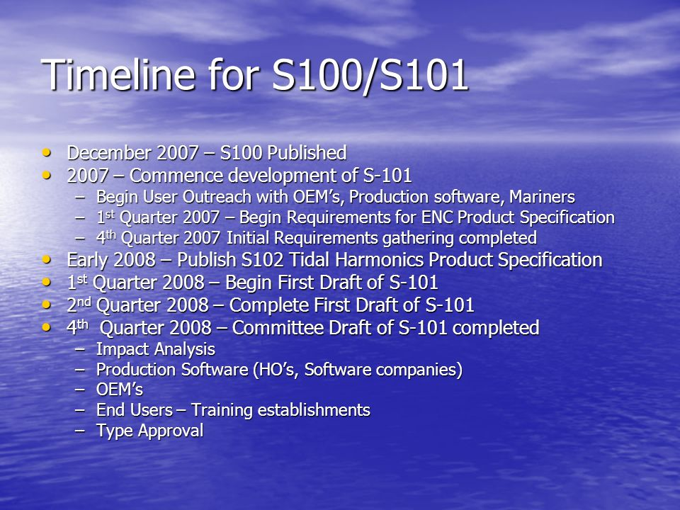 Timeline for S100/S101 December 2007 – S100 Published