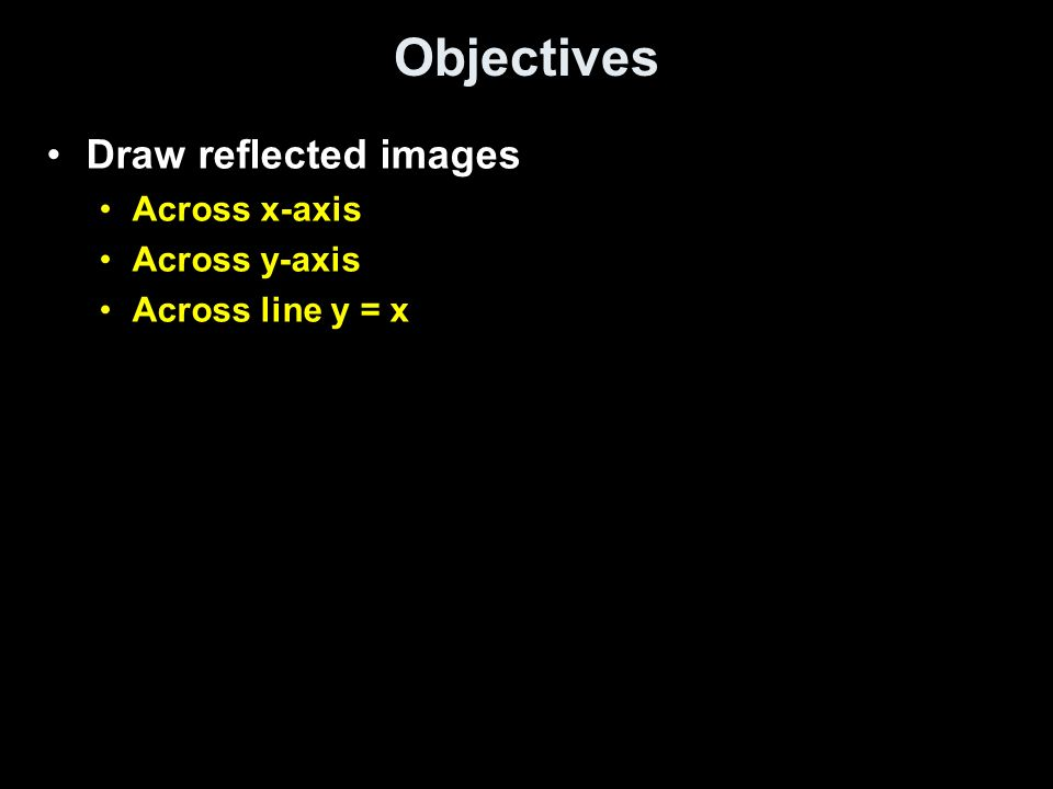 Objectives Draw reflected images Across x-axis Across y-axis