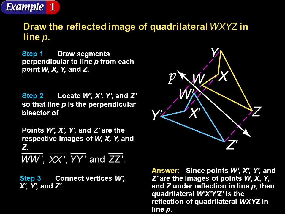 Draw the reflected image of quadrilateral WXYZ in line p.