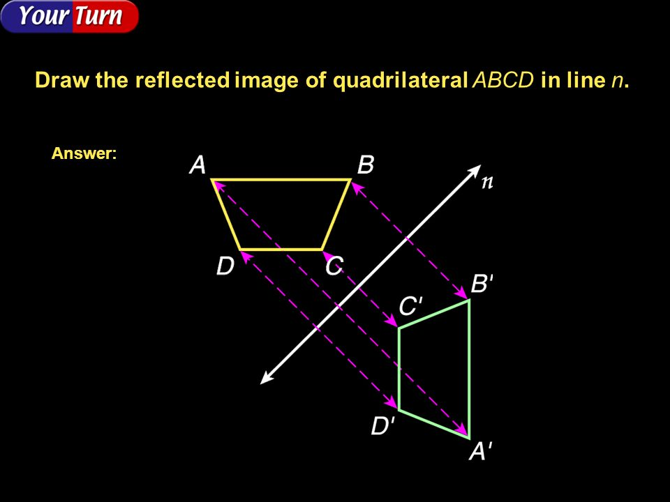 Draw the reflected image of quadrilateral ABCD in line n.