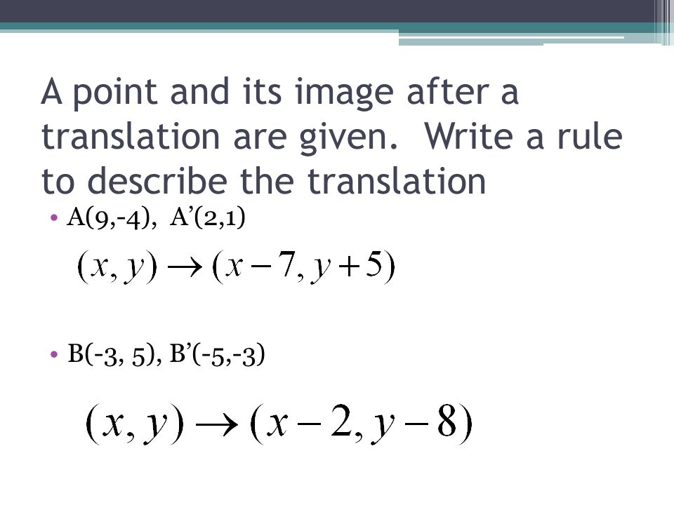 A point and its image after a translation are given