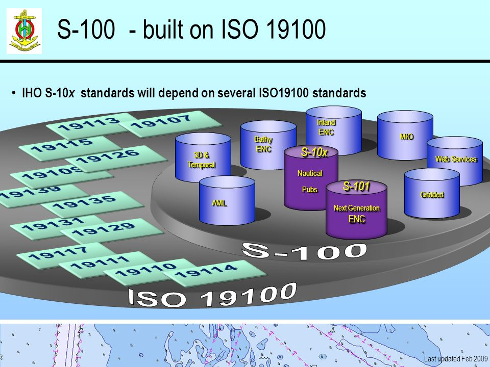 S-100 - built on ISO 19100 S-100. IHO S-10x standards will depend on several ISO19100 standards.