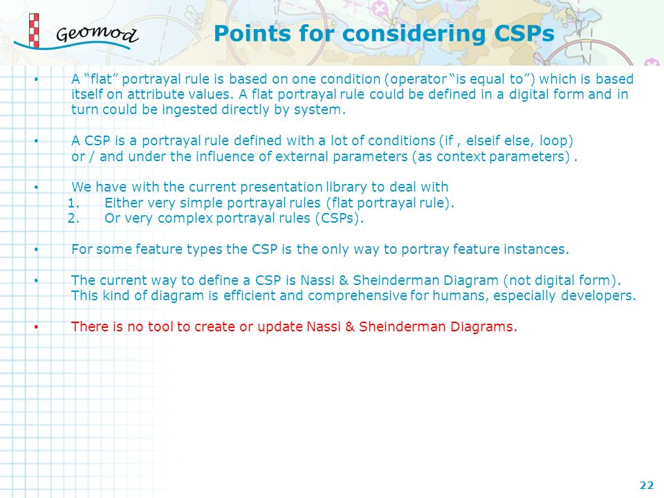 Points for considering CSPs