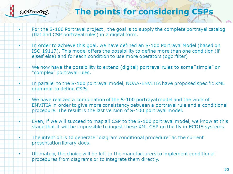 The points for considering CSPs