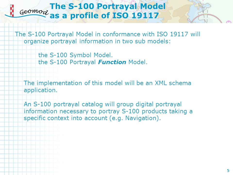 The S-100 Portrayal Model as a profile of ISO 19117