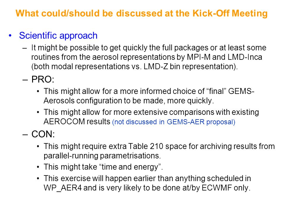 What could/should be discussed at the Kick-Off Meeting