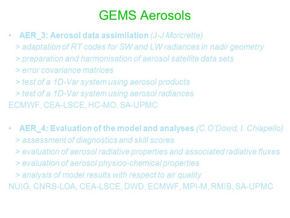 GEMS Aerosols AER_3: Aerosol data assimilation (J-J Morcrette)