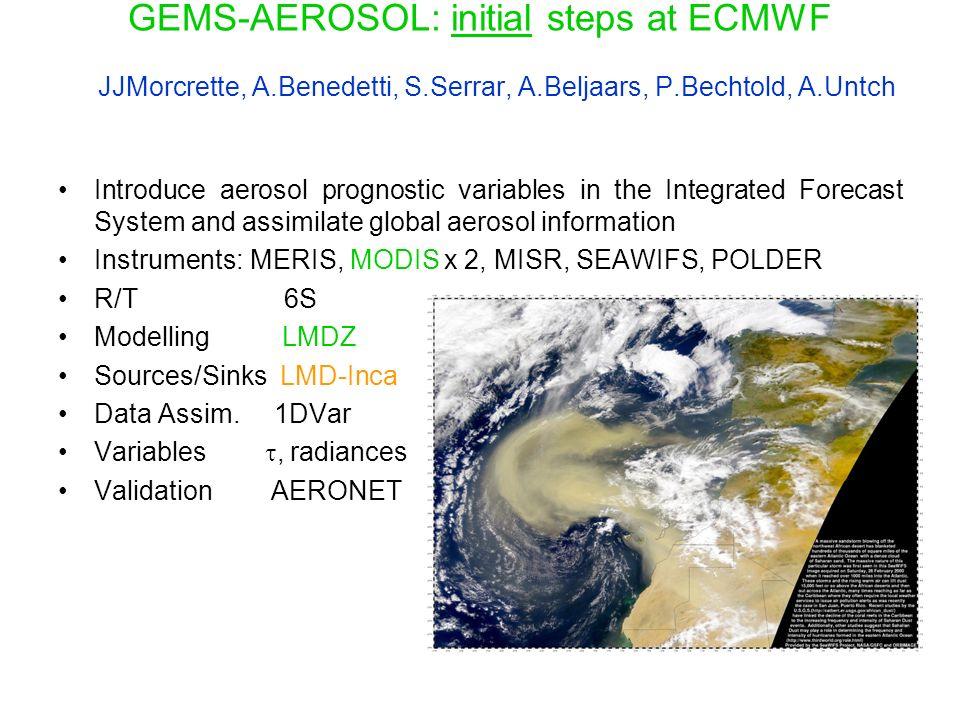 GEMS-AEROSOL: initial steps at ECMWF JJMorcrette, A. Benedetti, S
