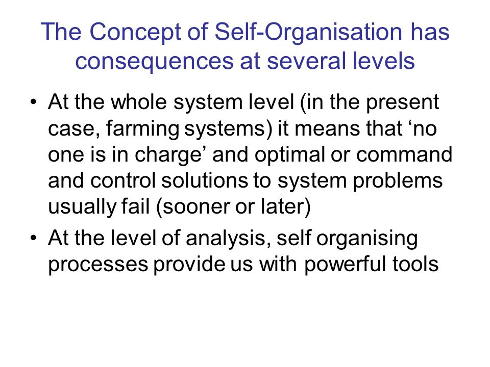 The Concept of Self-Organisation has consequences at several levels