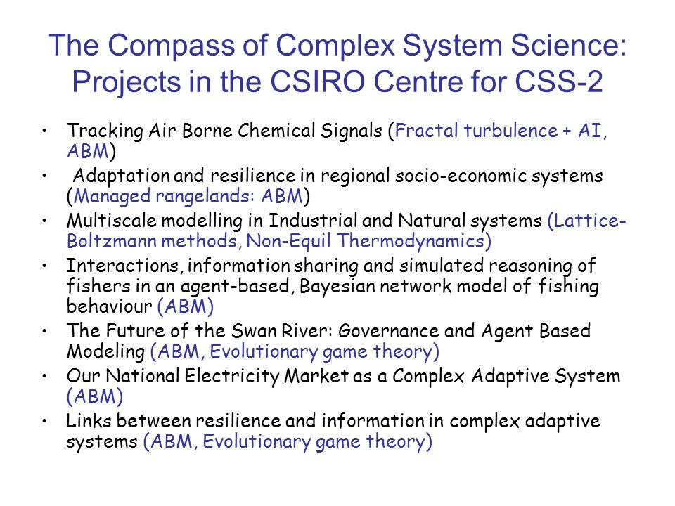 The Compass of Complex System Science: Projects in the CSIRO Centre for CSS-2