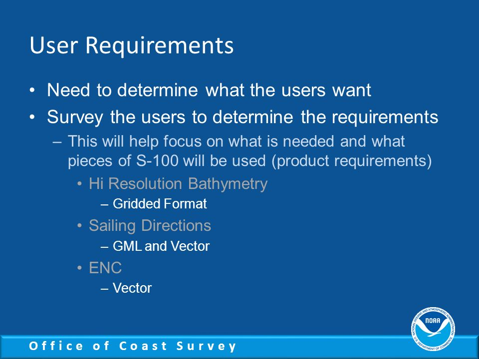 User Requirements Need to determine what the users want