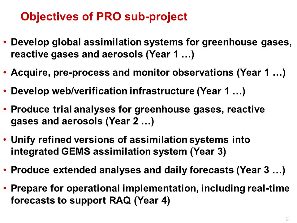 Objectives of PRO sub-project
