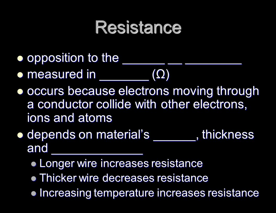an analysis of resistance depends on the material of the wire Electricity the resistance of wires-length does the resistance of a wire depend on its length the resistance of a wire changes if its length changes this makes sense if you consider that there are a number of collisions between the electrons and the ions when electricity flows through 1 metre of a wire there are twice as many collisions when electricity flows through 2 metres and 3.