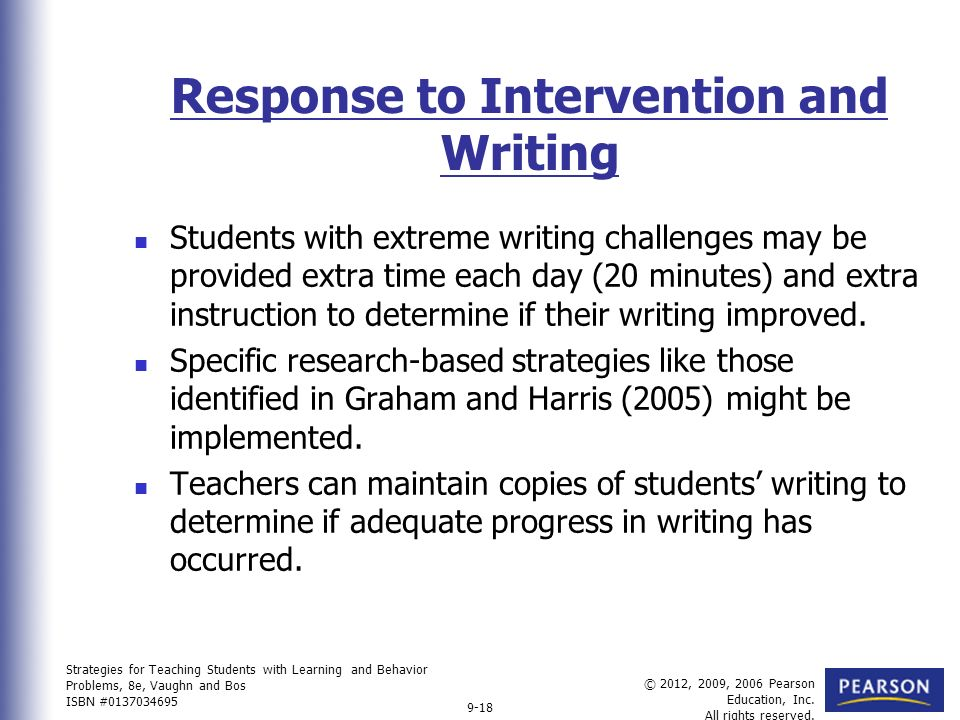 writing intervention strategies Note: teachers can apply this intervention idea to any genre of writing (eg,  mini-lessons are a useful means to present explicit writing strategies .