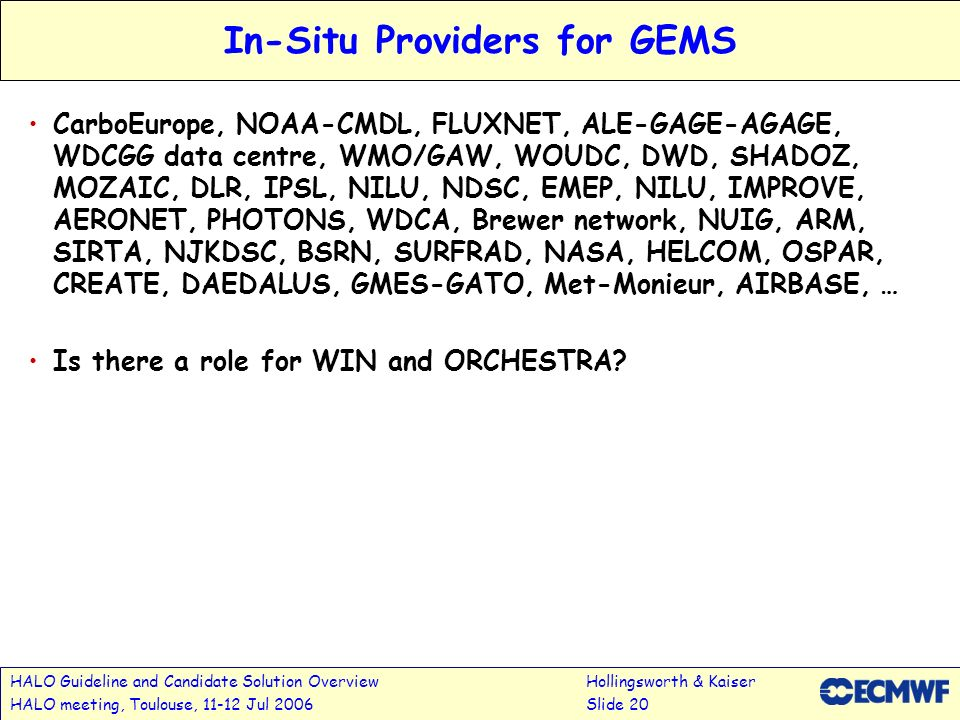 In-Situ Providers for GEMS