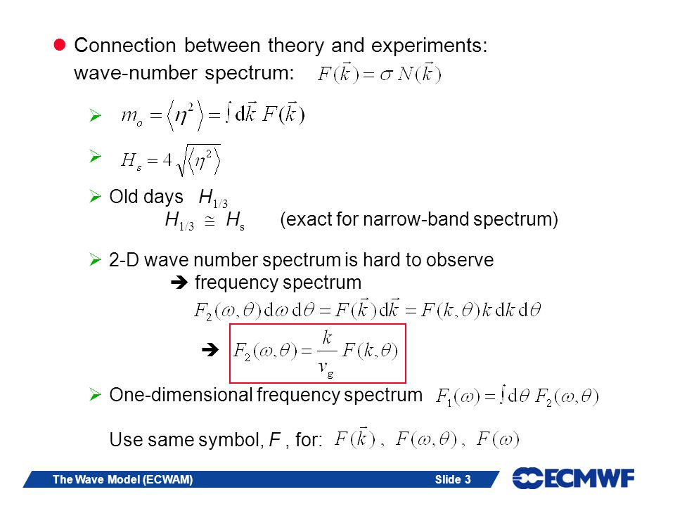 Connection between theory and experiments: wave-number spectrum: