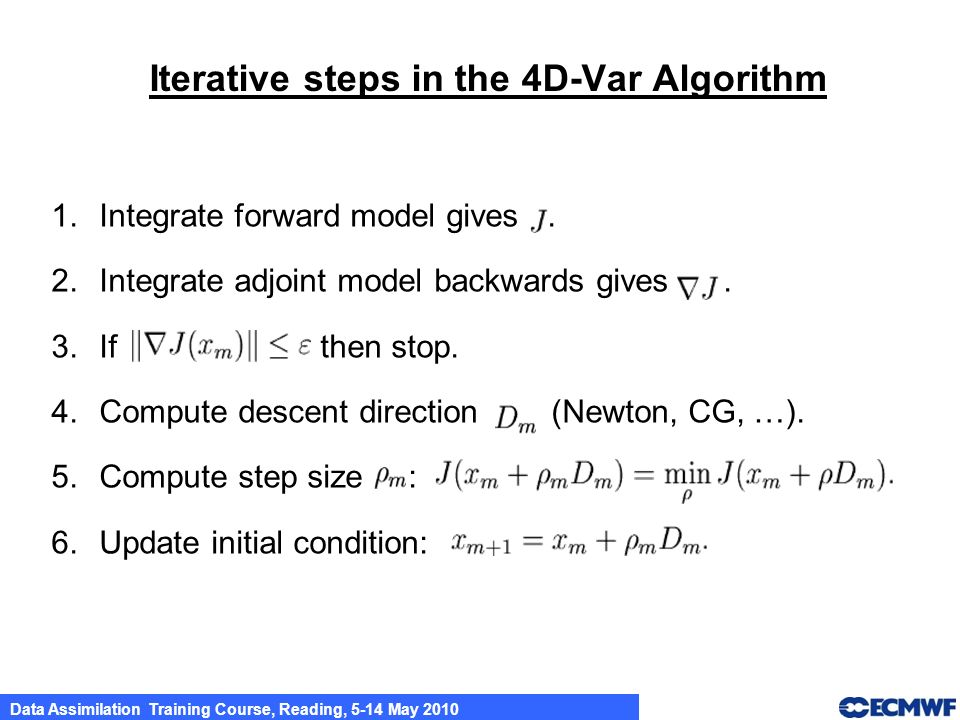Iterative steps in the 4D-Var Algorithm