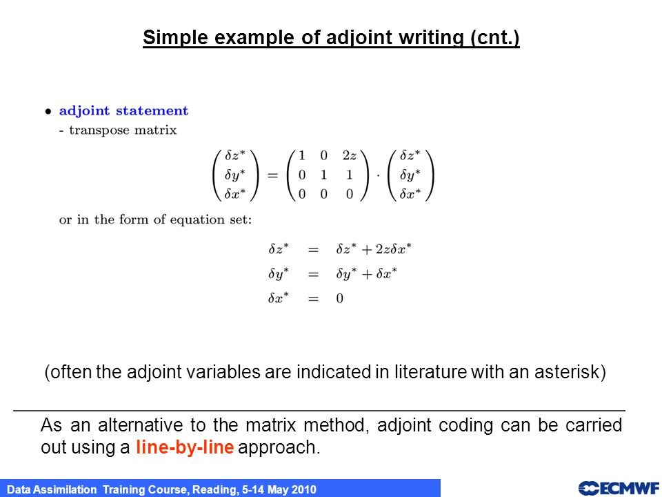 Simple example of adjoint writing (cnt.)