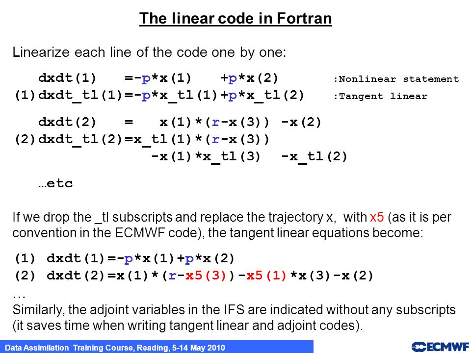 The linear code in Fortran