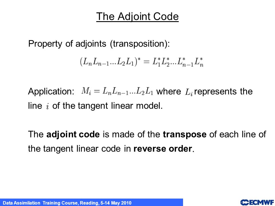 The Adjoint Code Property of adjoints (transposition):